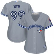 Wholesale Cheap Blue Jays #99 Hyun-Jin Ryu Grey Road Women's Stitched MLB Jersey