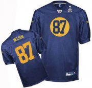 Wholesale Cheap Packers #87 Jordy Nelson Blue Super Bowl XLV Stitched NFL Jersey