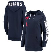 Wholesale Cheap Cleveland Indians G-III 4Her by Carl Banks Women's 12th Inning Pullover Hoodie Navy