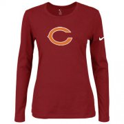 Wholesale Cheap Women's Nike Chicago Bears Of The City Long Sleeve Tri-Blend NFL T-Shirt Red