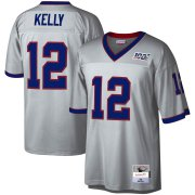 Wholesale Cheap Buffalo Bills #12 Jim Kelly Mitchell & Ness NFL 100 Retired Player Platinum Jersey
