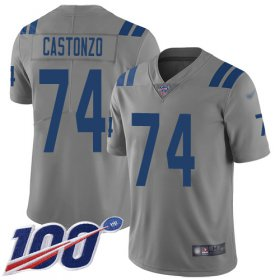Wholesale Cheap Nike Colts #74 Anthony Castonzo Gray Men\'s Stitched NFL Limited Inverted Legend 100th Season Jersey