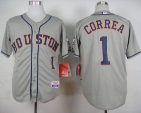 Wholesale Cheap Astros #1 Carlos Correa Grey Cool Base Stitched MLB Jersey