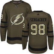 Wholesale Cheap Adidas Lightning #98 Mikhail Sergachev Green Salute to Service Stitched Youth NHL Jersey