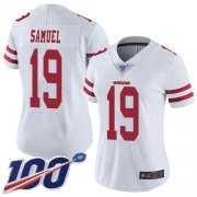 Wholesale Cheap Nike 49ers #19 Deebo Samuel White Women's Stitched NFL 100th Season Vapor Limited Jersey