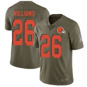 Wholesale Cheap Nike Browns #26 Greedy Williams Olive Men's Stitched NFL Limited 2017 Salute To Service Jersey