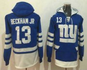 Wholesale Cheap Men's New York Giants #13 Odell Beckham Jr NEW Blue Pocket Stitched NFL Pullover Hoodie