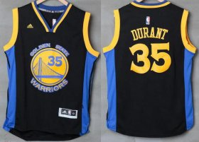 Wholesale Cheap Men\'s Golden State Warriors #35 Kevin Durant Black With Blue Edge Stitched NBA Adidas Revolution 30 Swingman Jersey