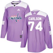 Wholesale Cheap Adidas Capitals #74 John Carlson Purple Authentic Fights Cancer Stitched Youth NHL Jersey