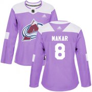 Wholesale Cheap Adidas Avalanche #8 Cale Makar Purple Authentic Fights Cancer Women's Stitched NHL Jersey