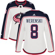 Wholesale Cheap Adidas Blue Jackets #8 Zach Werenski White Road Authentic Women's Stitched NHL Jersey