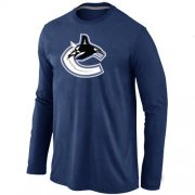 Wholesale Cheap NHL Vancouver Canucks Big & Tall Logo Long Sleeve T-Shirt Dark Blue