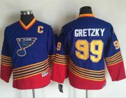 Wholesale Cheap Blues #99 Wayne Gretzky Light Blue/Red CCM Throwback Stitched Youth NHL Jersey