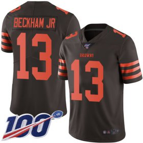 Wholesale Cheap Nike Browns #13 Odell Beckham Jr Brown Men\'s Stitched NFL Limited Rush 100th Season Jersey