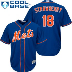 Wholesale Cheap Mets #18 Darryl Strawberry Blue Cool Base Stitched Youth MLB Jersey