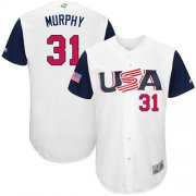 Wholesale Cheap Team USA #31 Daniel Murphy White 2017 World MLB Classic Authentic Stitched MLB Jersey
