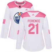 Wholesale Cheap Adidas Oilers #21 Andrew Ference White/Pink Authentic Fashion Women's Stitched NHL Jersey