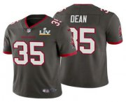 Wholesale Cheap Men's Tampa Bay Buccaneers #35 Jamel Dean Grey 2021 Super Bowl LV Limited Stitched NFL Jersey