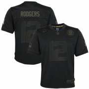 Cheap Green Bay Packers #12 Aaron Rodgers Nike Youth 2020 Salute to Service Game Jersey Black
