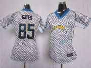 Wholesale Cheap Nike Chargers #85 Antonio Gates Zebra Women's Stitched NFL Elite Jersey
