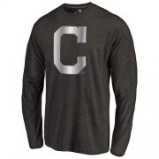 Wholesale Cheap Cleveland Indians Platinum Collection Long Sleeve Tri-Blend T-Shirt Black