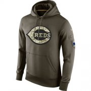 Wholesale Cheap Men's Cincinnati Reds Nike Olive Salute To Service KO Performance Hoodie