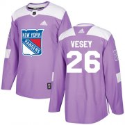 Wholesale Cheap Adidas Rangers #26 Jimmy Vesey Purple Authentic Fights Cancer Stitched Youth NHL Jersey