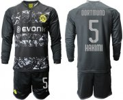 Wholesale Cheap Dortmund #5 Hakimi Away Long Sleeves Soccer Club Jersey