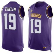 Wholesale Cheap Nike Vikings #19 Adam Thielen Purple Team Color Men's Stitched NFL Limited Tank Top Jersey