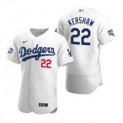 Wholesale Cheap Los Angeles Dodgers #22 Clayton Kershaw White 2020 World Series Champions Jersey