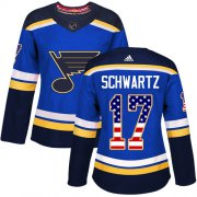 Wholesale Cheap Adidas Blues #17 Jaden Schwartz Blue Home Authentic USA Flag Women's Stitched NHL Jersey