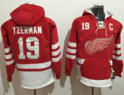 Wholesale Cheap Red Wings #19 Steve Yzerman Red Name & Number Pullover NHL Hoodie