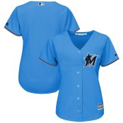 Wholesale Cheap Marlins Blue Majestic Women's Alternate 2019 Official Cool Base Stitched MLB Jersey