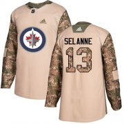 Wholesale Cheap Adidas Jets #13 Teemu Selanne Camo Authentic 2017 Veterans Day Stitched Youth NHL Jersey