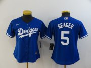 Wholesale Cheap Women's Los Angeles Dodgers #5 Corey Seager Blue Stitched MLB Cool Base Nike Jersey