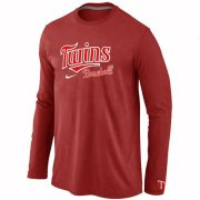 Wholesale Cheap Minnesota Twins Long Sleeve MLB T-Shirt Red