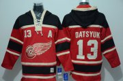 Wholesale Cheap Red Wings #13 Pavel Datsyuk Red Sawyer Hooded Sweatshirt Stitched NHL Jersey