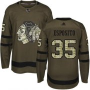 Wholesale Cheap Adidas Blackhawks #35 Tony Esposito Green Salute to Service Stitched NHL Jersey