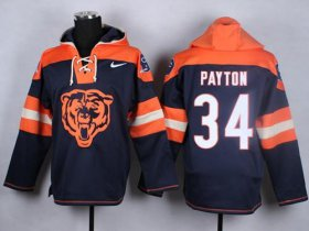 Wholesale Cheap Nike Bears #34 Walter Payton Navy Blue Player Pullover NFL Hoodie