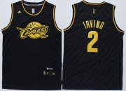 Wholesale Cheap Cleveland Cavaliers #2 Kyrie Irving Revolution 30 Swingman 2014 Black With Gold Jersey