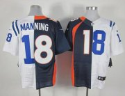 Wholesale Cheap Nike Colts #18 Peyton Manning Navy Blue/White Men's Stitched NFL Elite Split Broncos Jersey