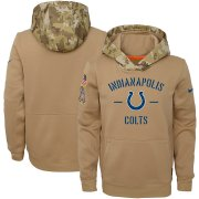 Wholesale Cheap Youth Indianapolis Colts Nike Khaki 2019 Salute to Service Therma Pullover Hoodie
