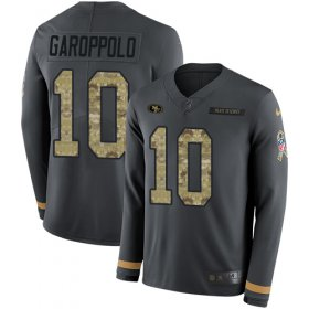 Wholesale Cheap Nike 49ers #10 Jimmy Garoppolo Anthracite Salute to Service Men\'s Stitched NFL Limited Therma Long Sleeve Jersey