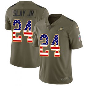 Wholesale Cheap Nike Eagles #24 Darius Slay Jr Olive/USA Flag Youth Stitched NFL Limited 2017 Salute To Service Jersey