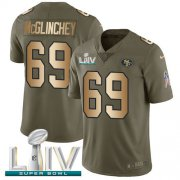 Wholesale Cheap Nike 49ers #69 Mike McGlinchey Olive/Gold Super Bowl LIV 2020 Youth Stitched NFL Limited 2017 Salute To Service Jersey