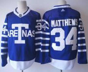 Wholesale Cheap Adidas Maple Leafs #34 Auston Matthews Blue Authentic 1918 Arenas Throwback Stitched NHL Jersey