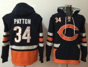 Wholesale Cheap Nike Bears #34 Walter Payton Navy Blue/Orange Name & Number Pullover NFL Hoodie