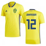 Wholesale Cheap Sweden #12 Johnsson Home Soccer Country Jersey