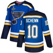 Wholesale Cheap Adidas Blues #10 Brayden Schenn Blue Home Authentic Stanley Cup Champions Stitched NHL Jersey