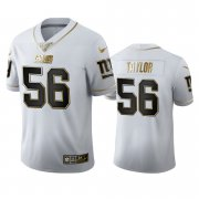 Wholesale Cheap New York Giants #56 Lawrence Taylor Men's Nike White Golden Edition Vapor Limited NFL 100 Jersey